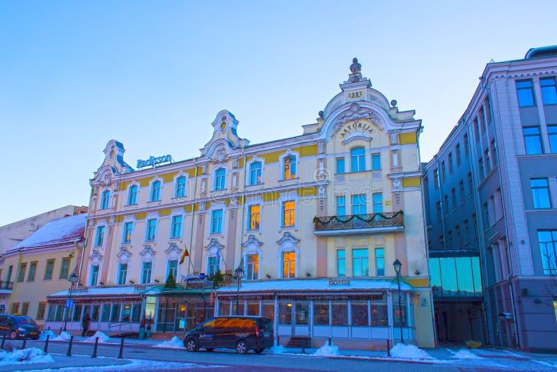 维尔纽斯,立陶宛- 2017年1月05日:Astorija旅馆在维尔纽斯,立陶宛 拉迪森蓝色旅馆手段,一部分的 库存照片