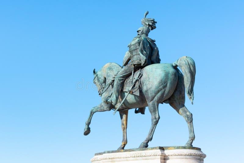 维托里奥・埃曼努埃莱・迪・萨伏伊骑马雕象II -纪念碑Vittoriano或阿尔塔雷della帕特里亚 E 库存照片
