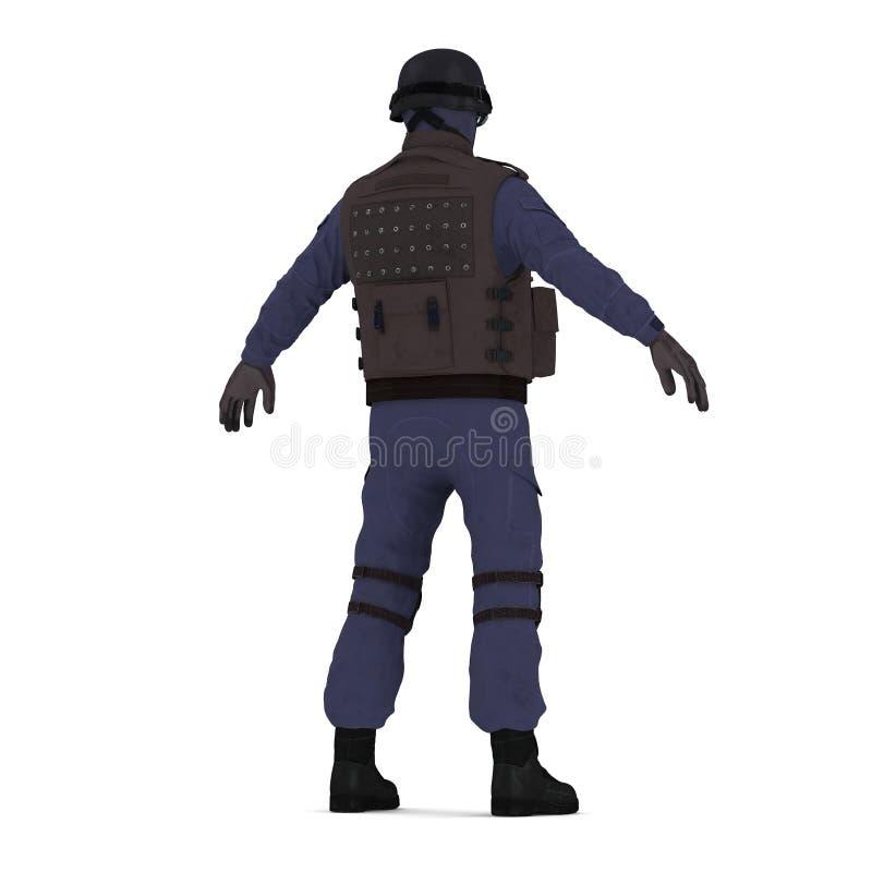 维持在白色隔绝的黑制服的特种部队官员治安 3d例证 皇族释放例证
