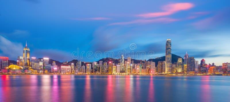 维港和香港地平线全景  免版税库存图片
