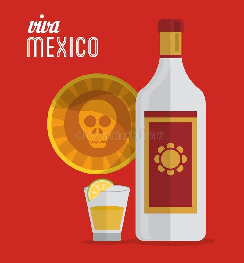 维瓦墨西哥龙舌兰酒头骨卡片 向量例证