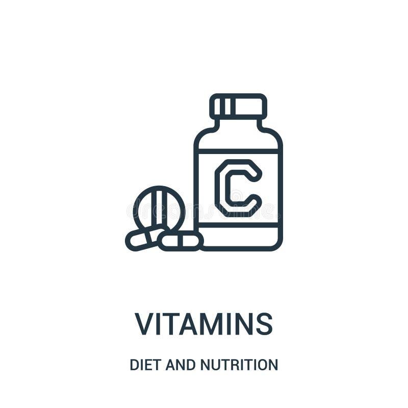 维生素从饮食和营养汇集的象传染媒介 稀薄的线维生素概述象传染媒介例证 线性标志 向量例证