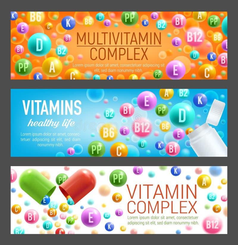 维生素和多种维生素传染媒介横幅  库存例证
