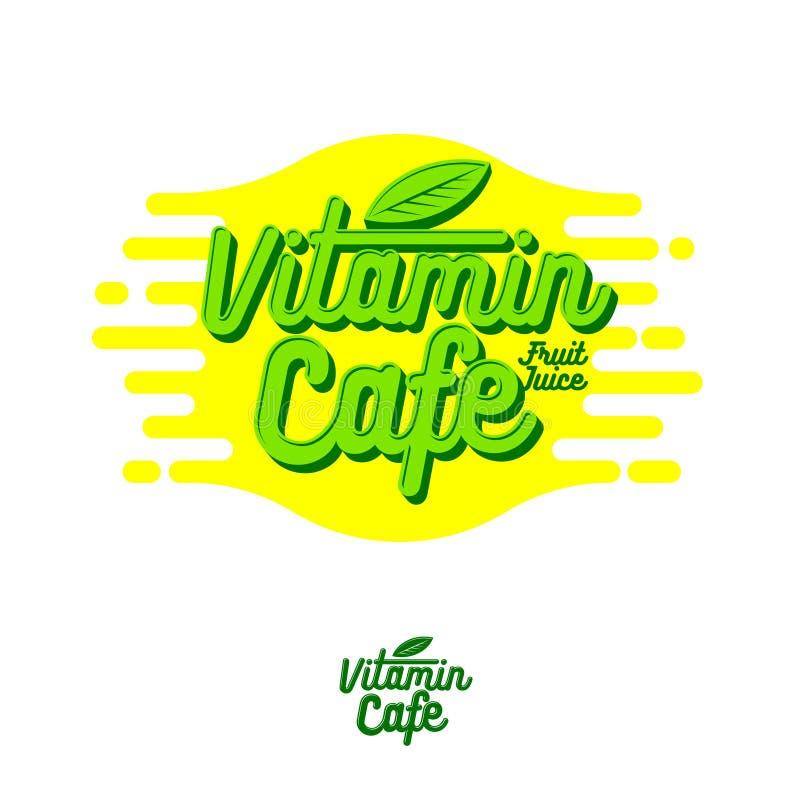 维生素咖啡馆商标 圆滑的人、戒毒所和汁液鲜美咖啡馆 健康饮料 与叶子的绿色信件 向量例证