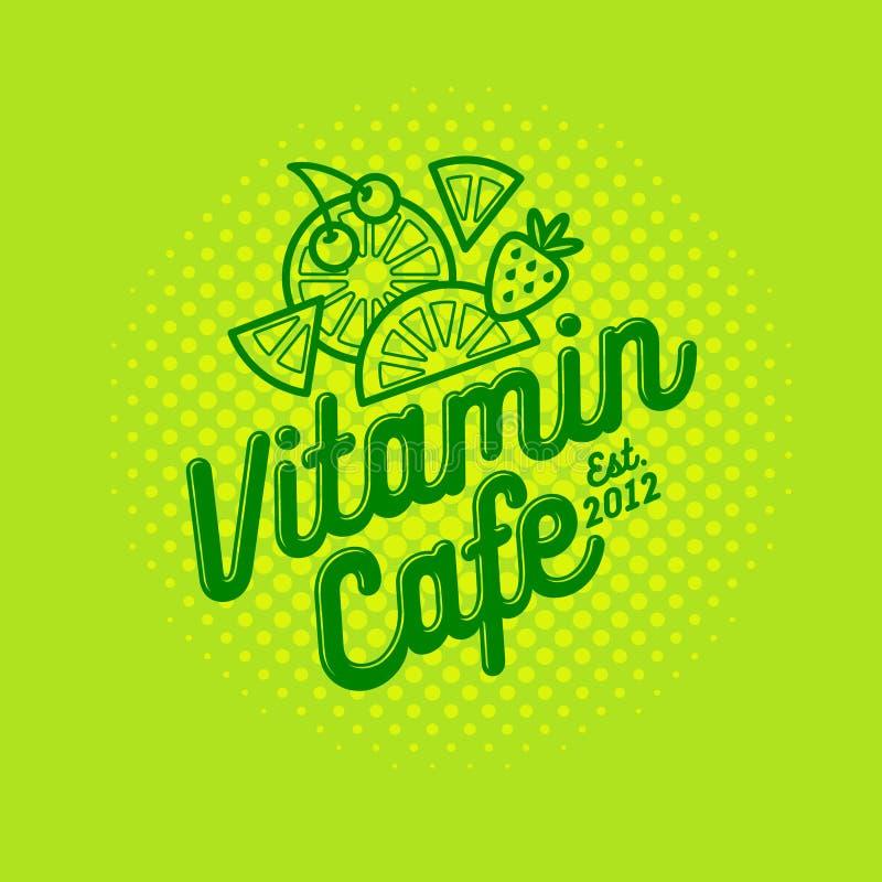 维生素咖啡馆商标 圆滑的人、戒毒所和汁液鲜美咖啡馆 健康饮料 果子和莓果与信件 皇族释放例证