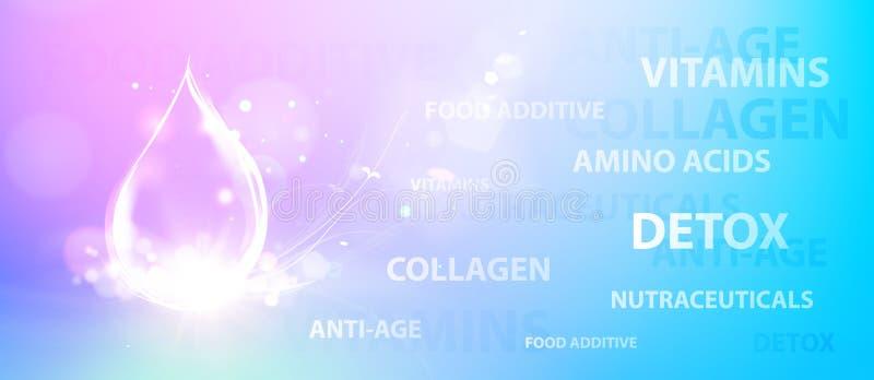 维生素复合体概念 光亮的紫罗兰色精华小滴 维生素下落以球形的形式 秀丽护肤设计 皇族释放例证