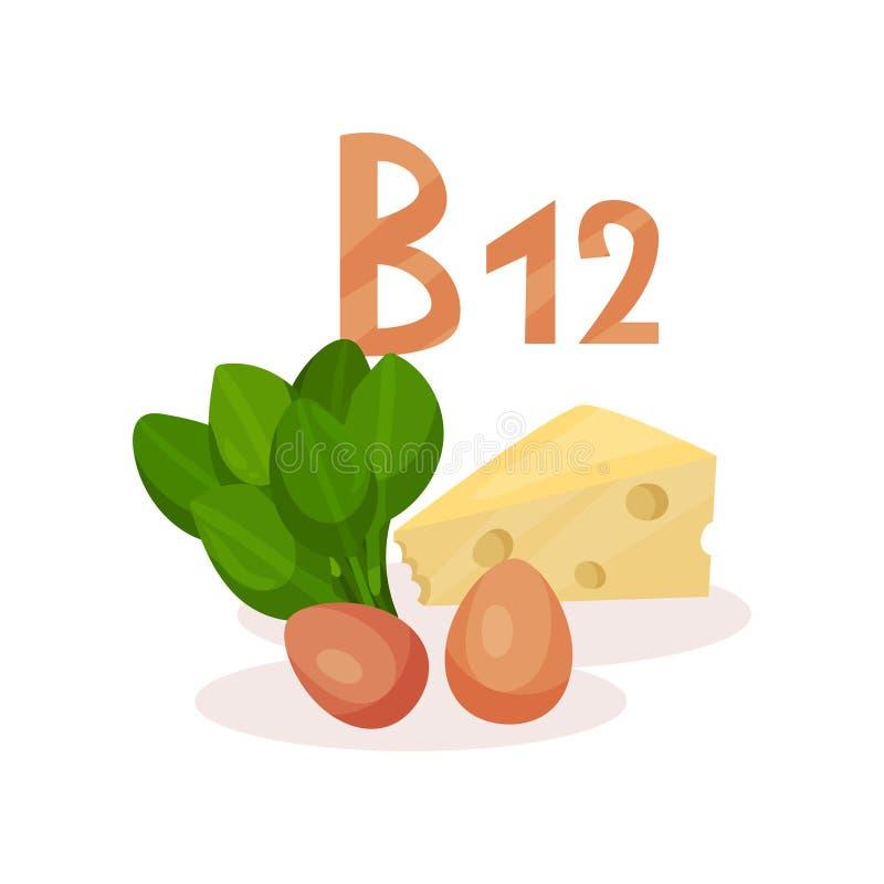 维生素B12的食物来源绿化菠菜、鸡鸡蛋和乳酪 食物健康自然 平的传染媒介设计 向量例证