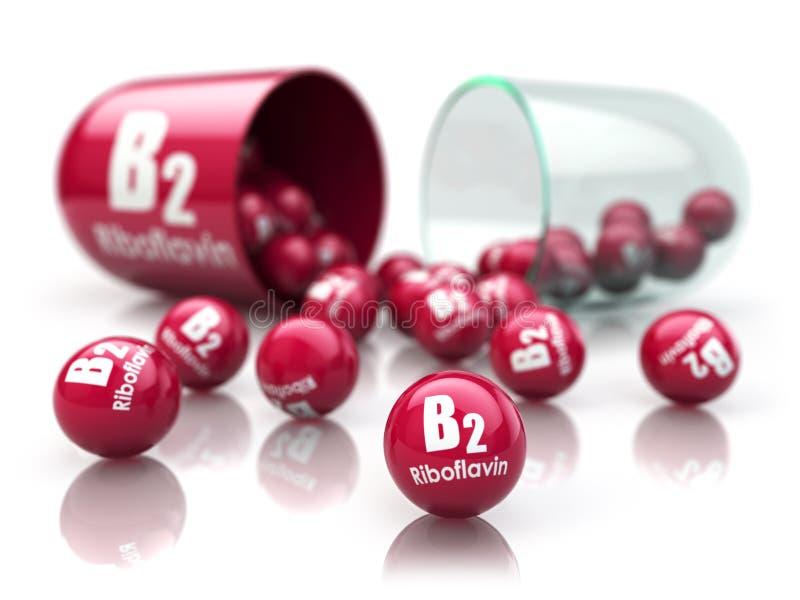 维生素B2胶囊 与核黄素的药片 饮食补充条款 库存例证