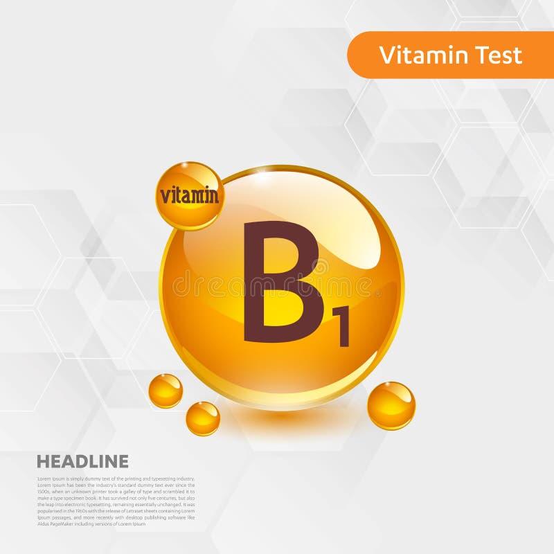 维生素B1金发光的药片capcule象,cholecalciferol 与化学式物质下落的金黄维生素复合体 医疗f 库存例证