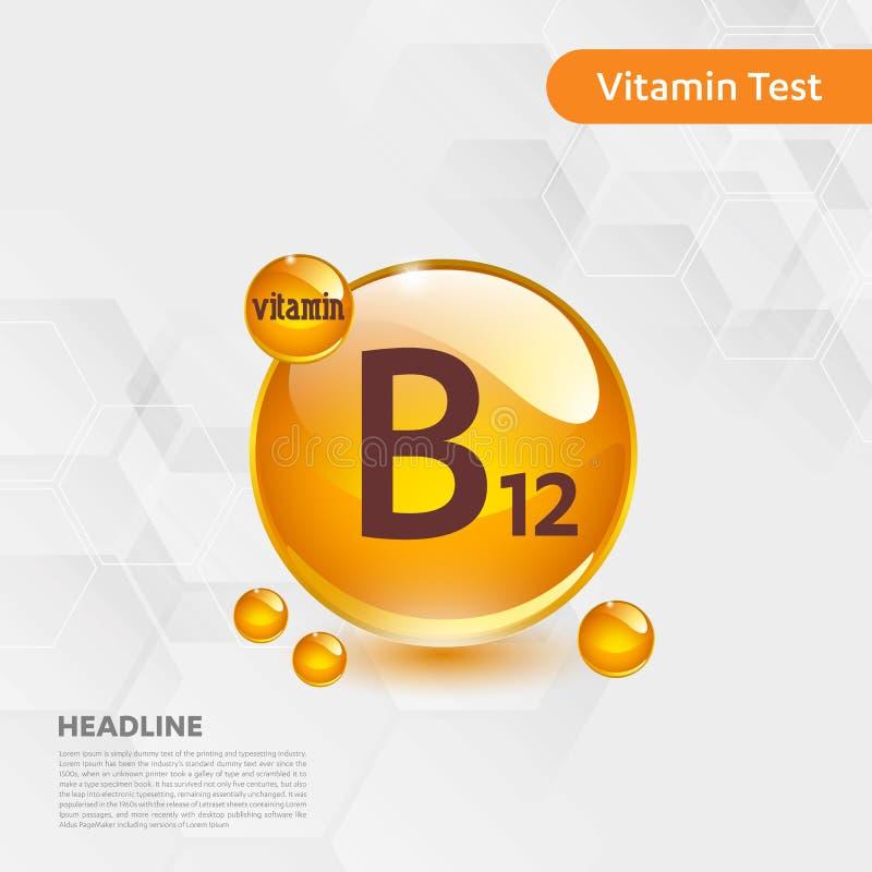 维生素B12金发光的药片capcule,cholecalciferol 与化学式物质下落的金黄维生素复合体 医疗f 库存例证