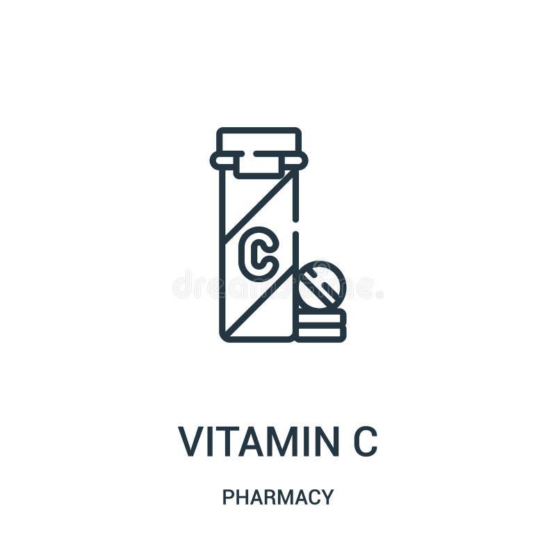 维生素C从药房汇集的象传染媒介 稀薄的线维生素C概述象传染媒介例证 向量例证