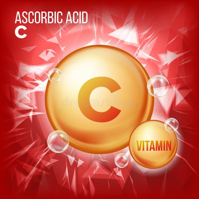 维生素C抗坏血酸传染媒介 有机维生素金药片象 医学胶囊,金黄物质 对秀丽,化妆用品 向量例证
