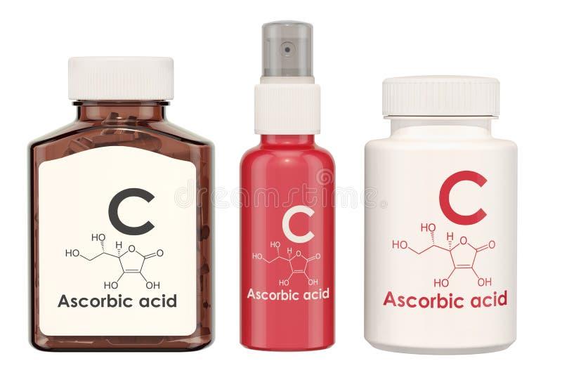 维生素C,抗坏血酸 有药片和浪花的b医疗瓶 向量例证