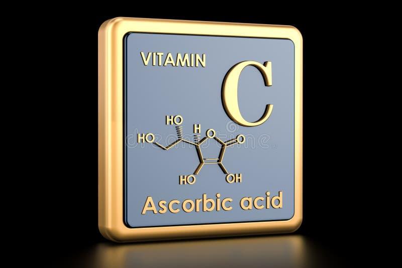 维生素C,抗坏血酸 象,化学式,分子stru 皇族释放例证