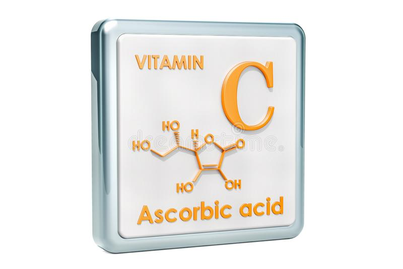 维生素C,抗坏血酸 象,化学式,分子stru 向量例证