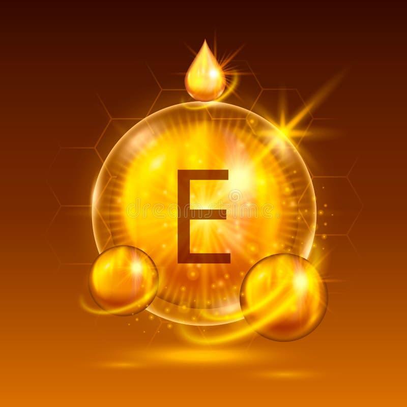 维生素e化学式,光芒四射的物质 向量例证