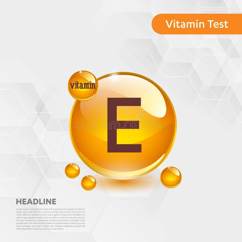 维生素E金发光的药片capcule象,cholecalciferol 与化学式物质下落的金黄维生素复合体 医疗f 库存例证