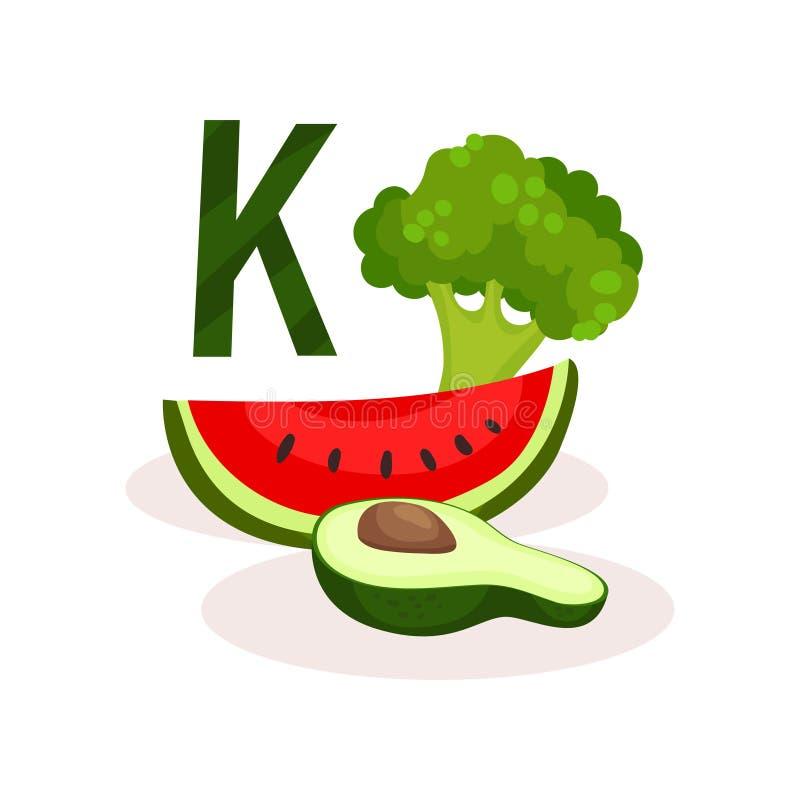 维生素K食物来源切片西瓜,一半鲕梨和硬花甘蓝 有机和健康产品 平的传染媒介为 皇族释放例证