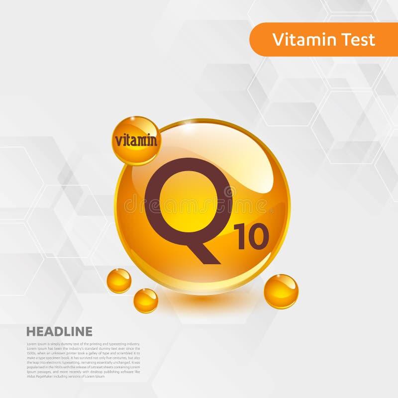 维生素Q10金发光的药片capcule,cholecalciferol 与化学式物质下落的金黄维生素复合体 医疗f 皇族释放例证