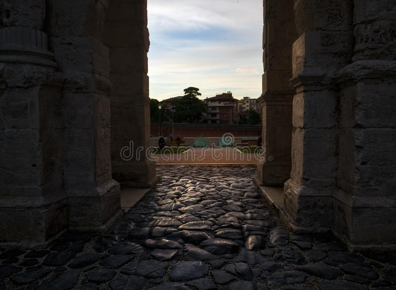维罗纳古老墙壁  意大利 库存图片
