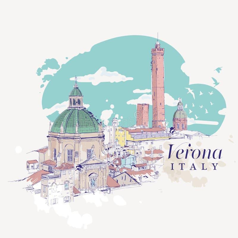 维罗纳,意大利徒手画的数字式图画  向量例证
