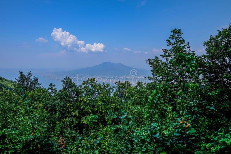 维苏威看法从Faito山的顶端 库存照片