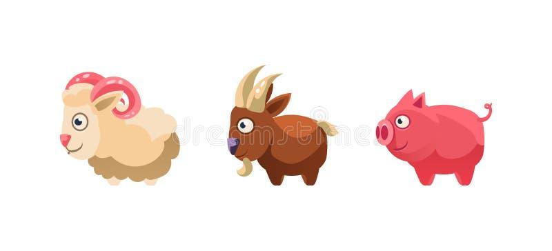 绵羊、山羊和猪、滑稽的动画片牲口、比赛用户界面、元素机动性的或计算机游戏传染媒介 库存例证
