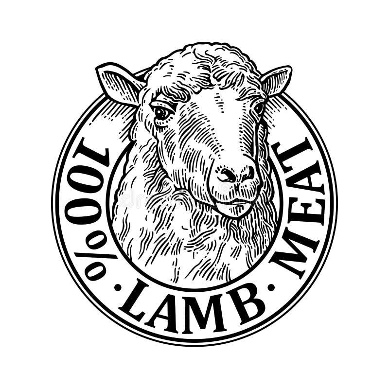绵羊头 100自然wooll字法 葡萄酒传染媒介板刻例证 向量例证