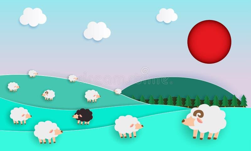 绵羊牧群在绿色牧场地,纸被削减的样式,种田与绵羊和自然淡色计划的风景的元素的 皇族释放例证