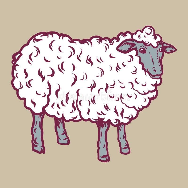 绵羊象,手拉的样式 向量例证