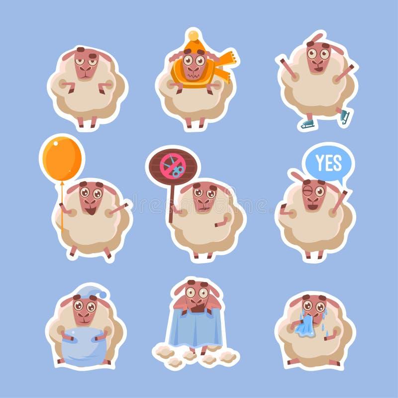 绵羊贴纸的汇集,Funny农场蓬松动物字符用不同的情况和情感导航 皇族释放例证