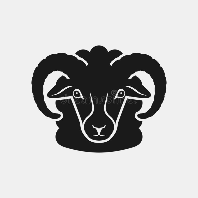 绵羊顶头黑剪影 牲口象 库存例证
