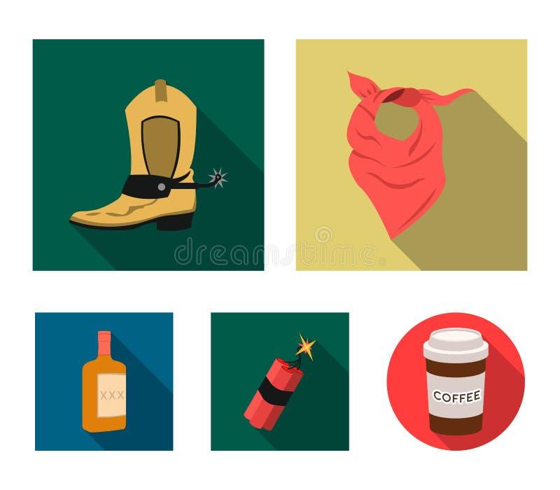 绷带、起动、炸药和一个瓶威士忌酒 狂放的在平的样式的西部集合汇集象导航标志股票 皇族释放例证