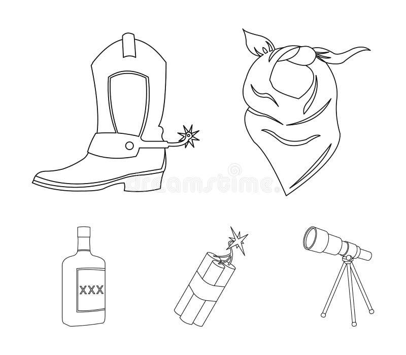 绷带、起动、炸药和一个瓶威士忌酒 狂放的在概述样式的西部集合汇集象导航标志股票 库存例证
