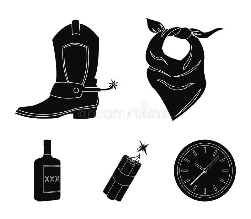 绷带、起动、炸药和一个瓶威士忌酒 狂放的在黑样式的西部集合汇集象导航标志股票 库存例证