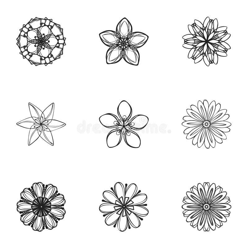 绽放花象集合,简单的样式 库存例证