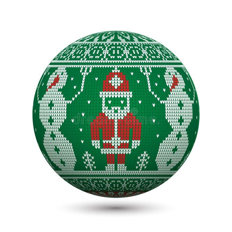 绿化在与圣诞老人和雪人的白色背景隔绝的被编织的圣诞节球北欧装饰品的 皇族释放例证