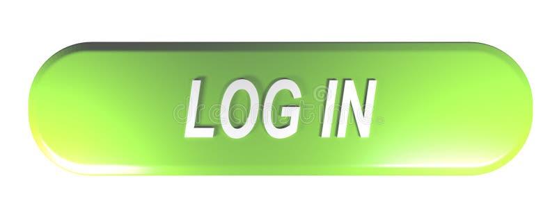 绿化被环绕的长方形按钮登录- 3D翻译 皇族释放例证