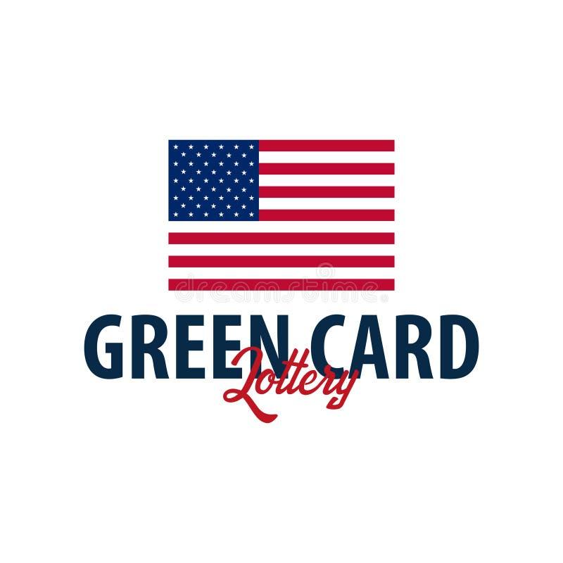 绿卡抽奖商标或象征 移民和签证向美国 向量例证