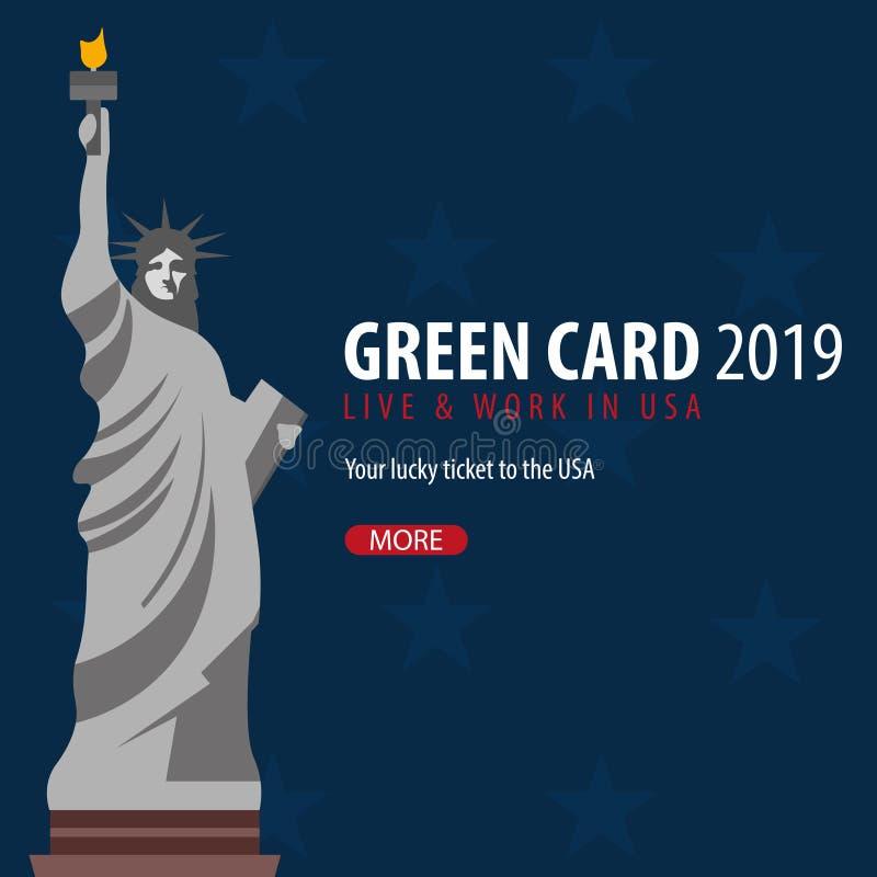 绿卡抽奖横幅 移民和签证向美国 向量例证