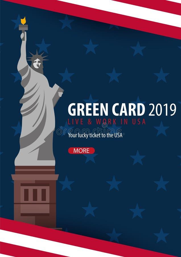 绿卡抽奖横幅 移民和签证向美国 库存例证