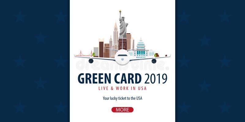 绿卡抽奖横幅 移民和签证向美国 皇族释放例证