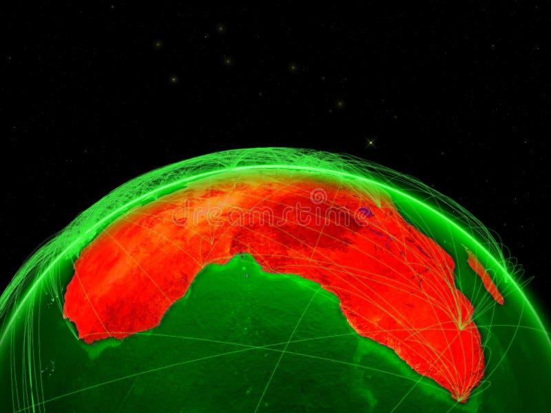 绿土上的非洲在与代表洲际的空中交通或电信网的网络的空间 3d 向量例证