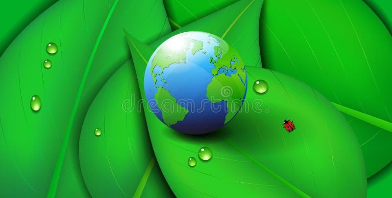 绿土世界象标志生态叶子背景 免版税库存照片
