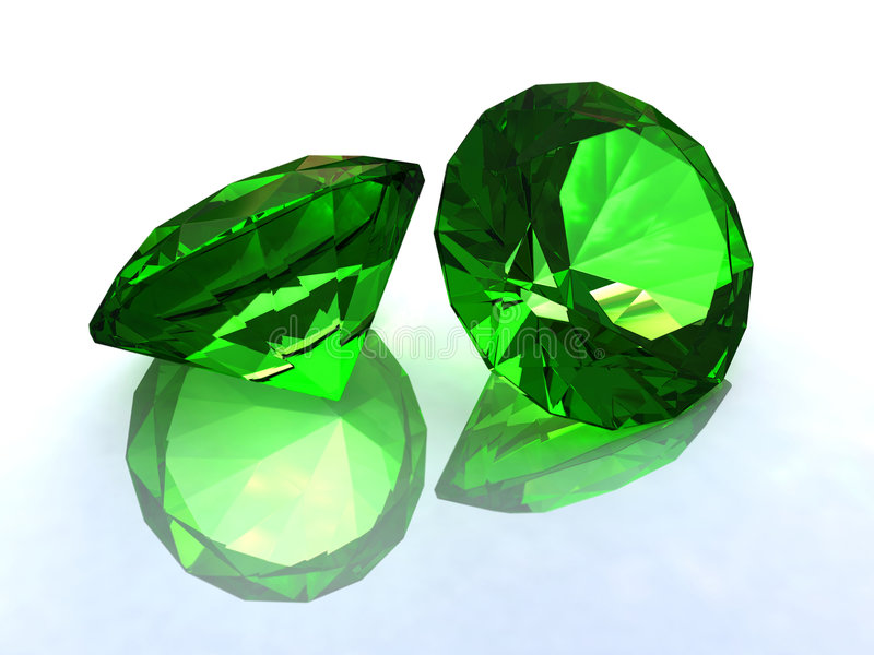 绿宝石雕琢了平面 库存例证