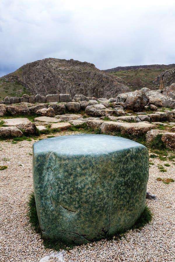 绿岩立方体在哈图沙,古老赫梯资本,从法老王Ramesse的礼物II 乔鲁姆,土耳其 库存照片