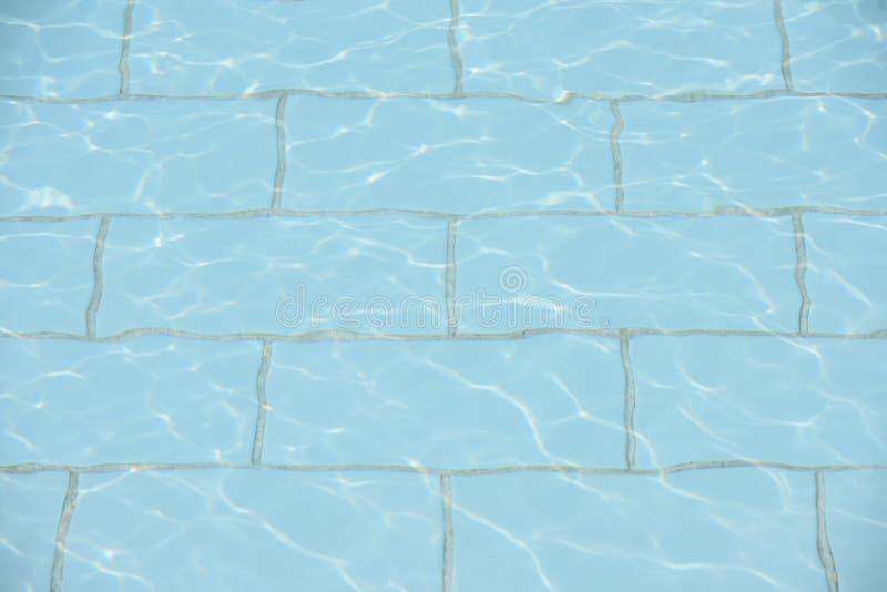 绿松石与小波纹和太阳反射的水池水表面上 库存图片