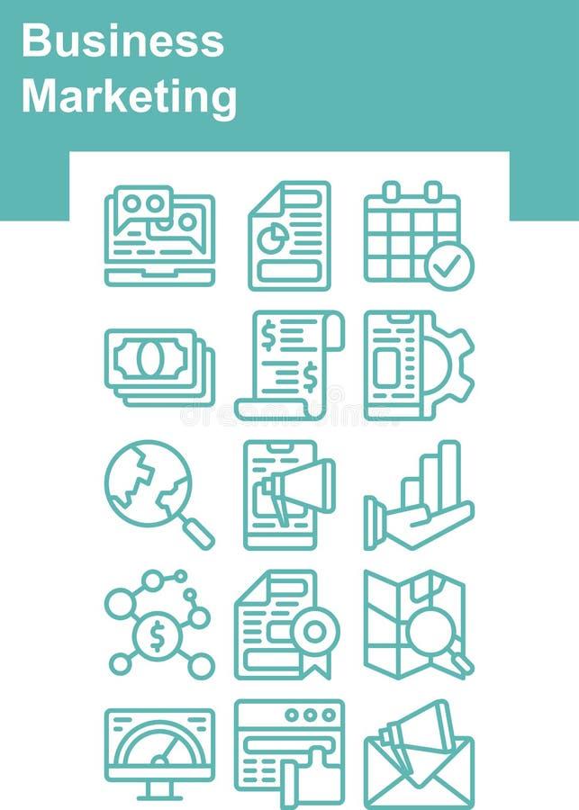 绿松石企业被设置的营销象 免版税图库摄影