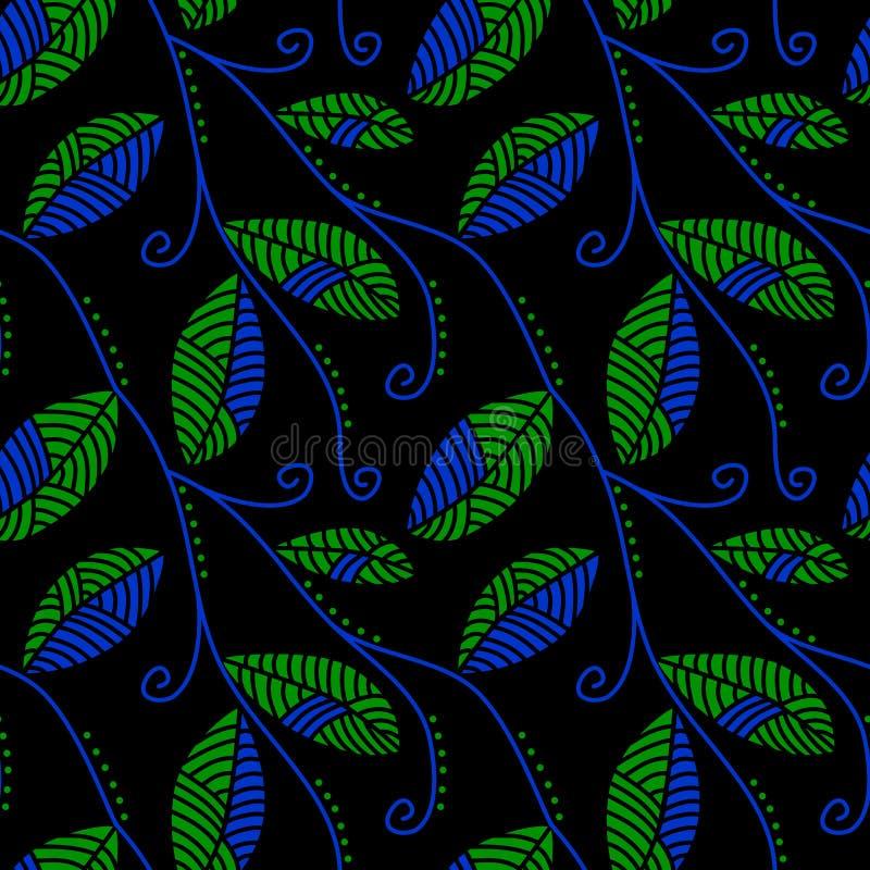 绿松石和玉离开在晚上无缝的模式 向量例证