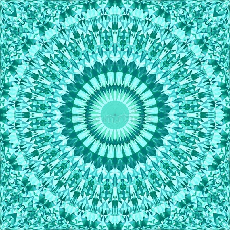 绿松石无缝的抽象三角锦砖万花筒坛场样式墙纸 库存例证